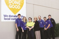 Team members from The Good Guys East Maitland with Mai-Wel supported employee, Diana Jordan and Mai-Wel CEO, Pennie Kearney